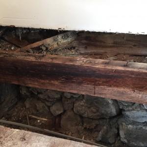 Wet rot affected joist