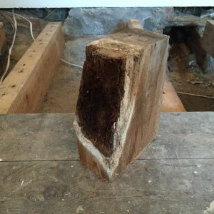 classic wet rot affected joist end