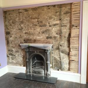 Exposed area around fireplace