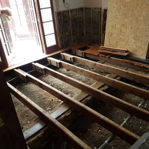 Joists treated with a dual purpose solution