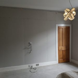 Wall with new plasterboard