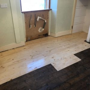 kitchen floor being treated