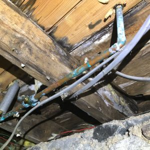 Joists affected by leaky pipes