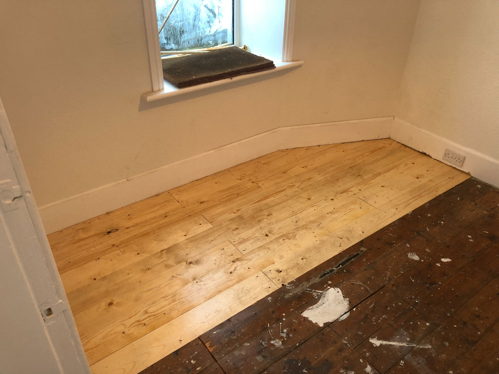 front bedroom floor being treated