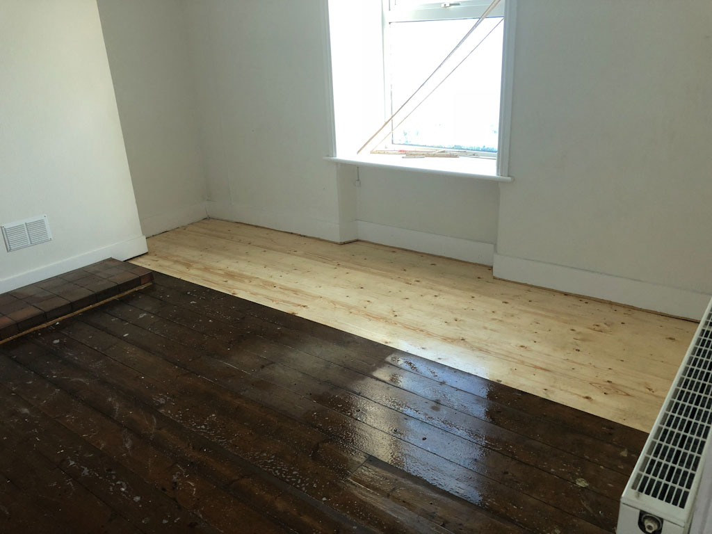 livingroom floor being treated