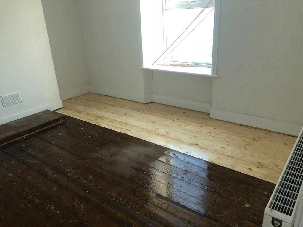 livingroom floor being treated