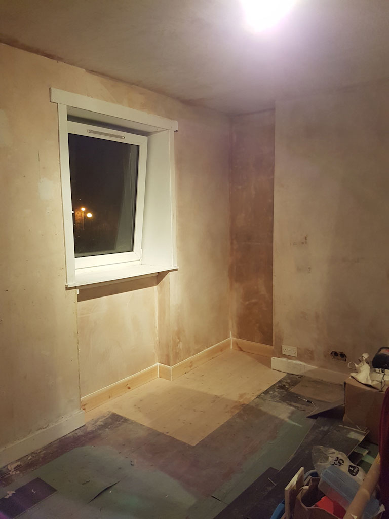 room finished with plaster