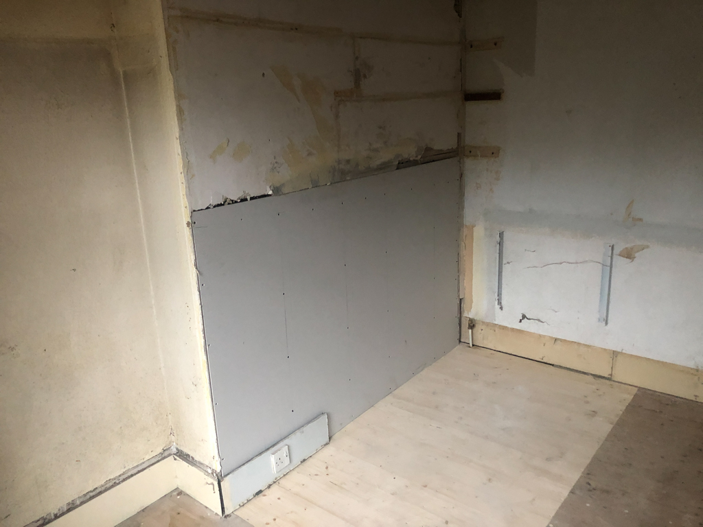 wall with plasterboard